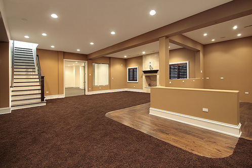 finished basement and entertainment space